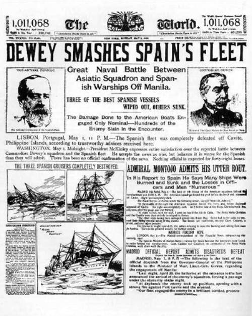 Anuncio de la destrucción de parte de la flota española