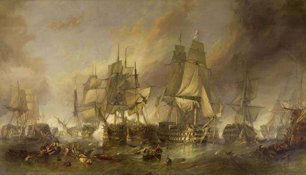 La Batalla de Trafalgar por William_Clarkson_Stanfield