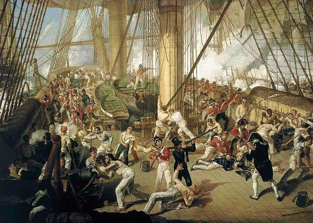 La batalla de Trafalgar - caída de Nelson