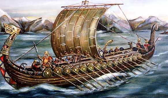 Vikingos navegando en drakkar